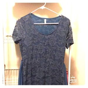 NWOT. Worn once. Blue lace maxi maternity dress.